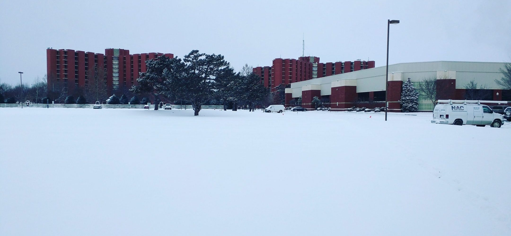 Snow covers the University of Oklahoma Campus